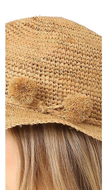 Madewell Crochet Fedora with Raffia Pom