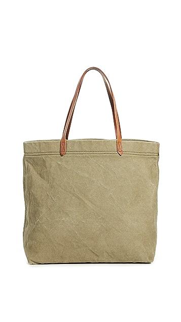 Madewell Объемная сумка с короткими ручками из холщовой ткани