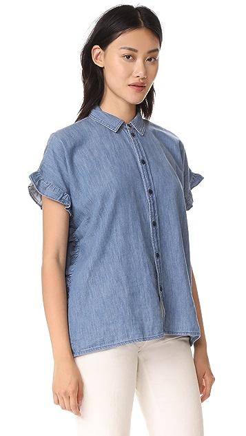 Madewell Indigo Ruffle Side Shirt