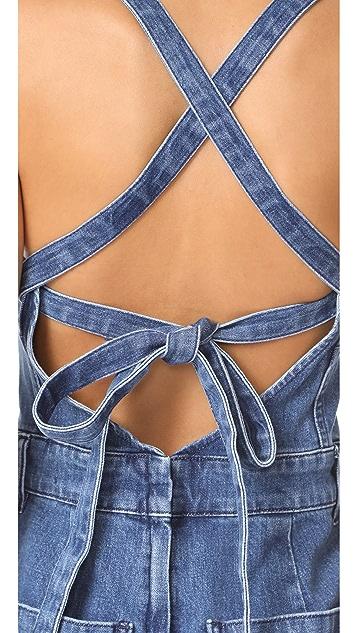Madewell Denim Lace Up Back Jumpsuit