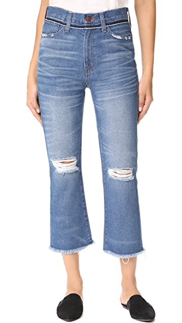 Madewell Retro Cropped Bootcut Jeans With Ripped Knees