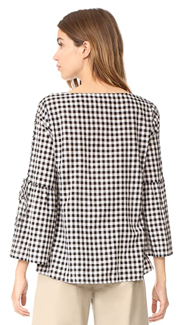 Madewell Lace Up Belle Sleeve Blouse in Gingham
