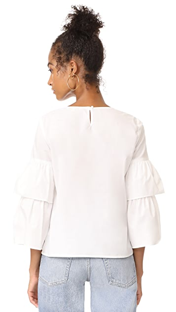 Madewell White Poplin Tiered Sleeve Top