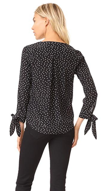 Madewell Silk Star Scatter Tie Sleeve Top