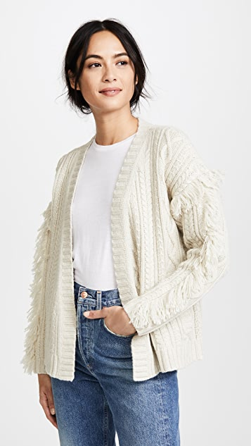 Madewell Cable Knit Fringe Cardigan Sweater