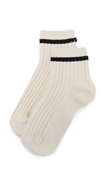 Madewell Border-Stripe Ankle Socks