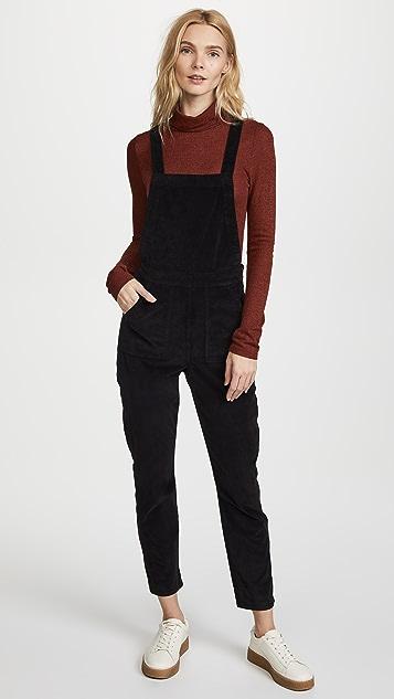 Madewell Black Velvet Skinny Overalls