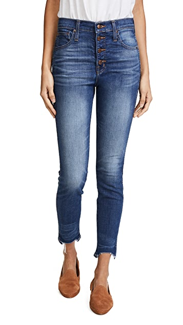 Madewell High Rise Skinny Jeans with Chewed Hem