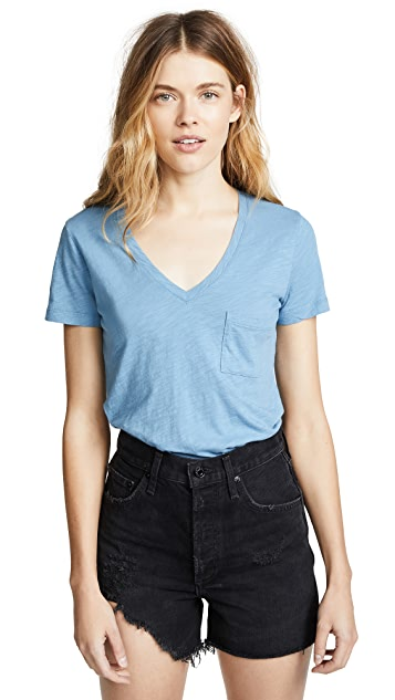 Madewell Whisper Cotton Tee with V Neck & Pocket