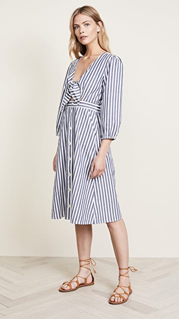Madewell Shimmer Stripe Cutout Midi Dress