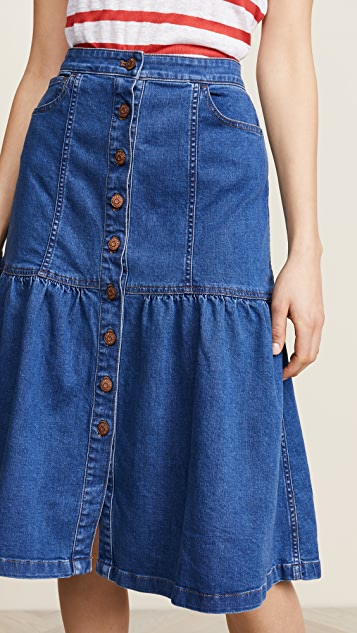 Madewell Bayview Tiered Midi Skirt