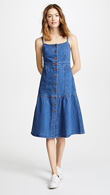 e717b56215 Madewell Denim Bayview Tiered Midi Dress