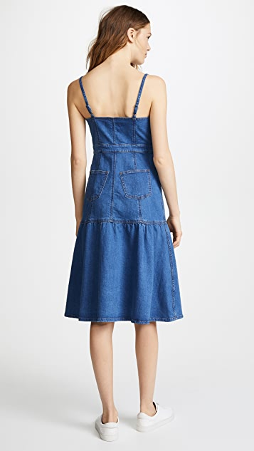 Madewell Denim Bayview Tiered Midi Dress