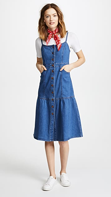 Madewell Denim Bayview Tiered Midi Dress