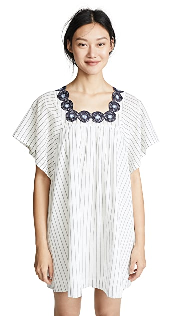 Madewell Striped Dress with Embroidered Medallions