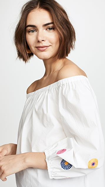 Madewell Embroidered Off Shoulder Top