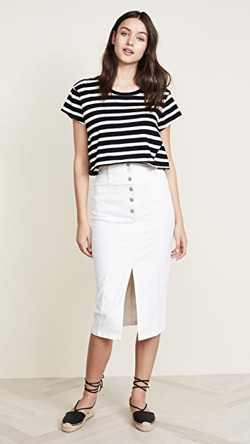 Madewell White High Slit Jean Skirt