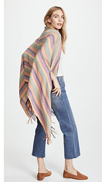 Madewell Peacock Stripe Silk Noil Cape Scarf