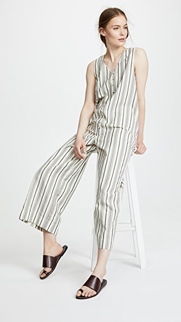 Madewell Stripe Apron Tie Jumpsuit