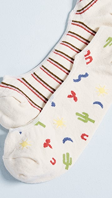 Madewell Adventure & Stripe No Show Sock Set