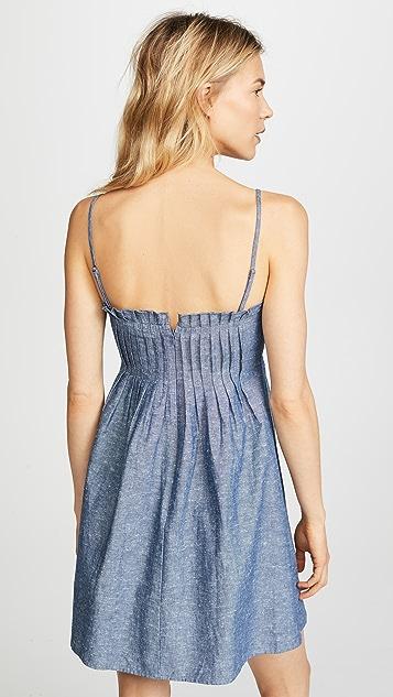 Madewell Chambray Pintuck Ruffle Dress