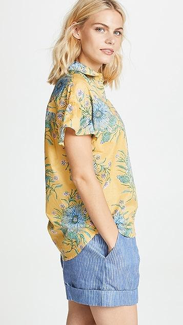 Madewell Yellow Van Gogh Floral Printed Ruffle Sleeve Shirt
