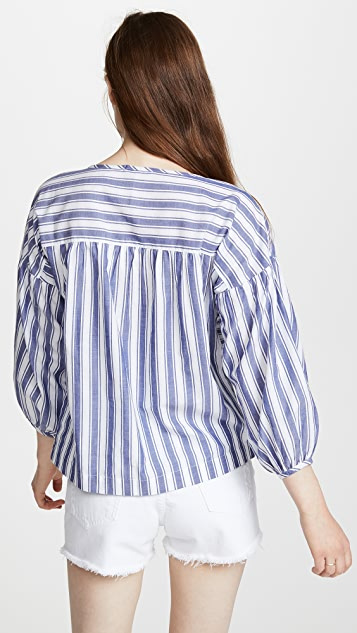 Madewell Peasant Top in Shea Stripe