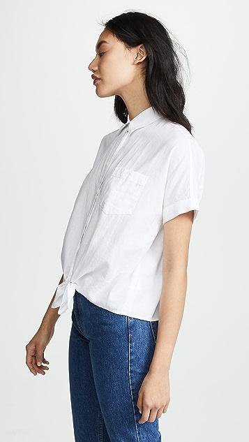 Madewell Рубашка с короткими рукавами и завязками спереди