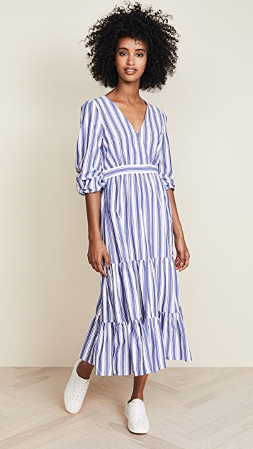 Madewell Ruffle-Sleeve Tiered Dress in Ava Stripe