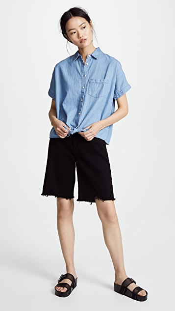 Madewell Chambray Tie Front Shirt