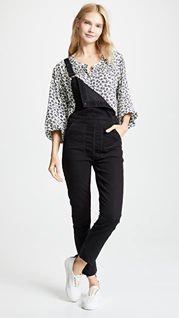 Madewell Washed Black Skinny Overalls