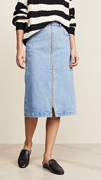 Zip Front Midi Skirt by Madewell
