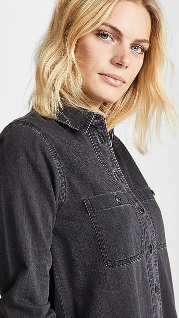 5bc56108ef ... Madewell Black Denim Shirtdress ...