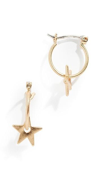 Madewell Mini Charm Star Hoop Earrings