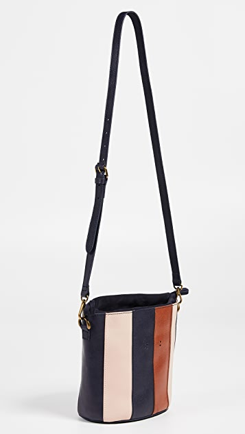 Madewell Buildable Pieced Stripes Bucket Bag