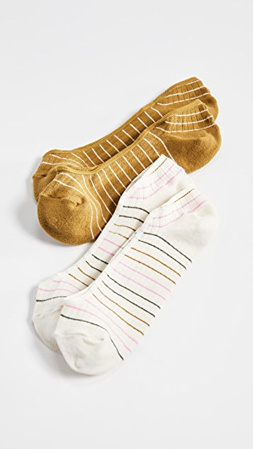 Madewell Two Pack Simple Stripe No Show Socks