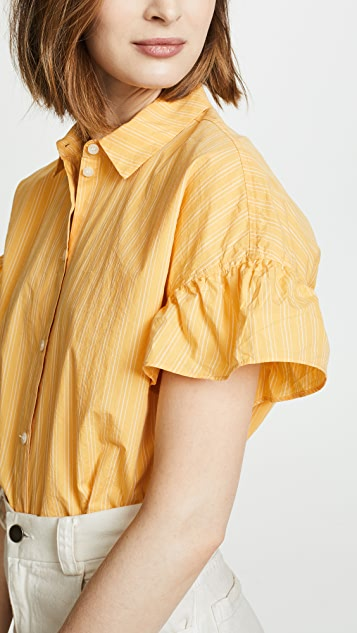 Madewell Ruffle Sleeve Central Shirt