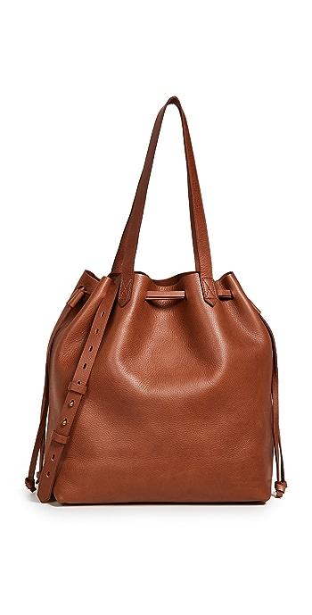 Madewell Medium Transport Tote Bag with Drawcord - English Saddle