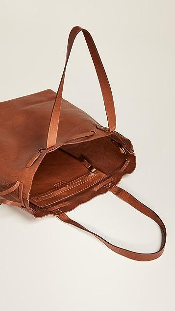Madewell Объемная сумка с короткими ручками среднего размера Transport с завязкой