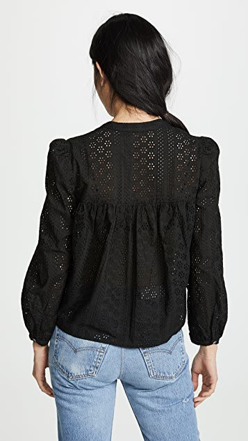 Madewell Eyelet Double Tie Peasant Top