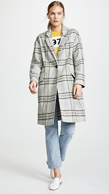 Madewell Brushed Plaid Notched Lapel Coat