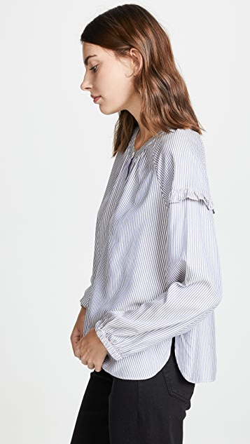 Madewell Collarless Ruffle Sleeve Button Down