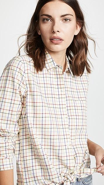 Madewell Rainbow Plaid Tie Front Shirt