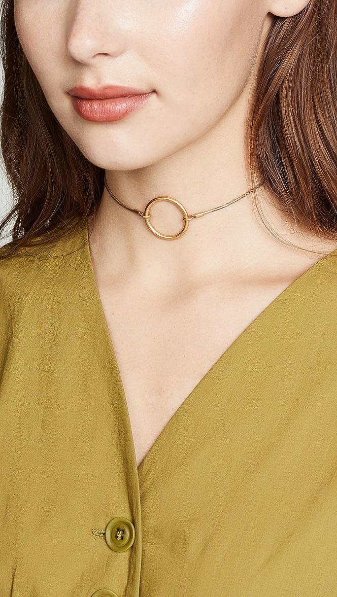 Adjustable Gold Circle Choker Necklace