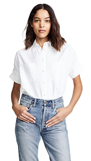 Madewell White Cotton Courier Shirt