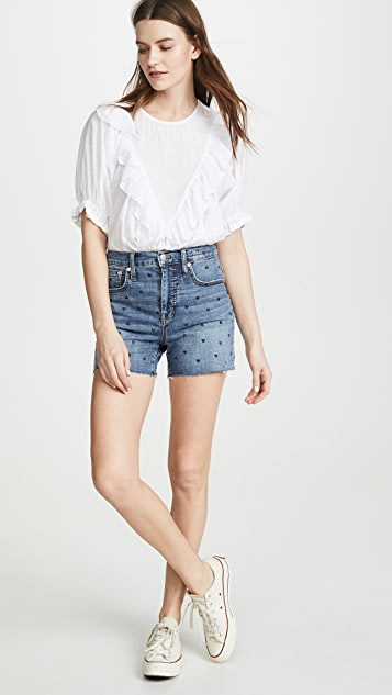 Madewell High Rise Denim Shorts: Heart Print Edition