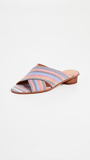Madewell The Ruthie Crisscross Mules in Rainbow Stripe