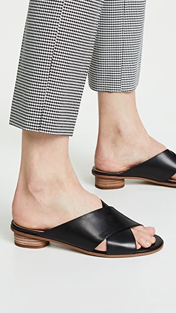 Madewell The Ruthie Crisscross Mules in Leather