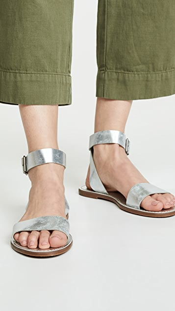 Madewell The Boardwalk Ankle-Strap Sandals in Metallic