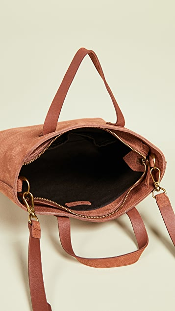 Madewell The Zip-Top Transport Crossbody in Nubuck Leather: Rainbow Strap Edition